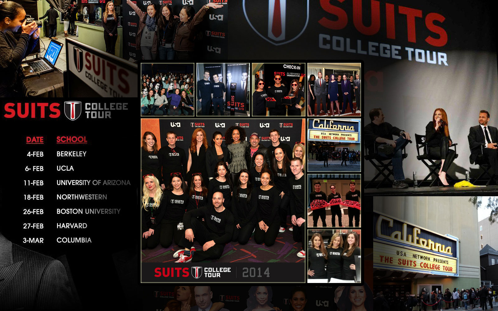 On Tour 24/7's Promotional Models working in support of USA's The Suits College Tour.