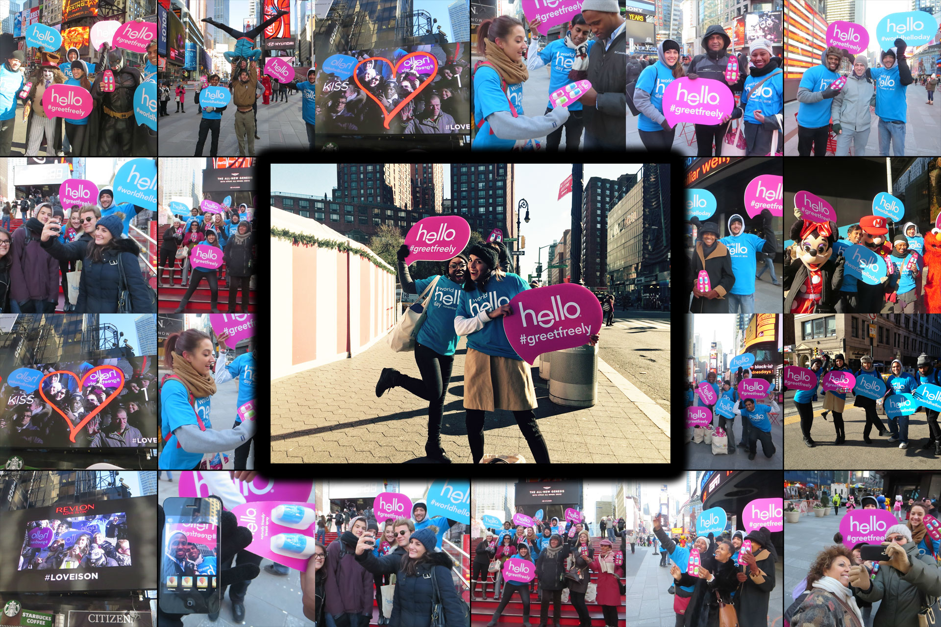 On Tour 24/7's Brand Ambassadors activating in NYC for World Hello Day.