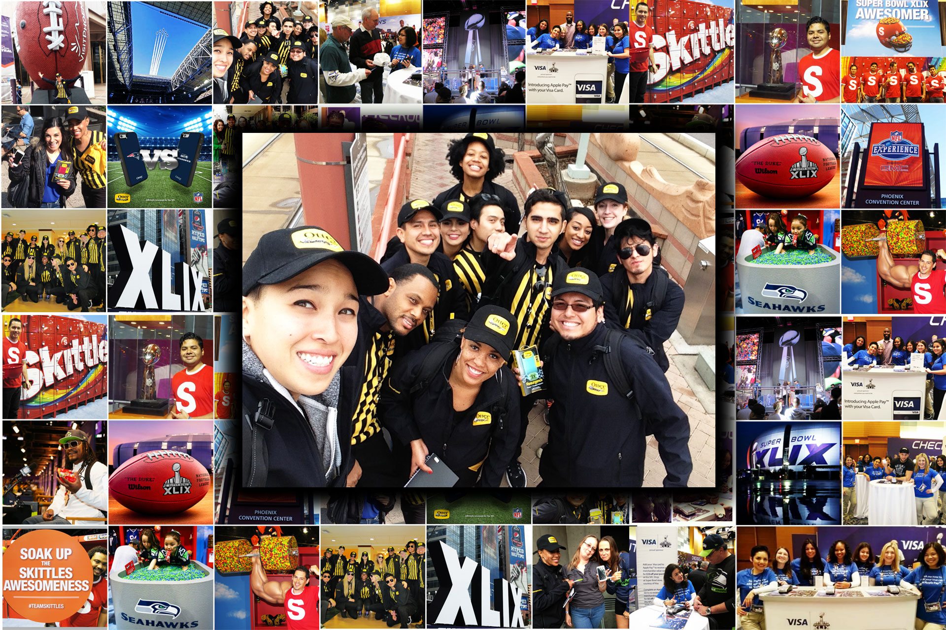 On Tour 24/7's Brand Ambassadors working for Skittles, Snickers, VISA, and OtterBox at Super Bowl XLIX in Phoenix, AZ.