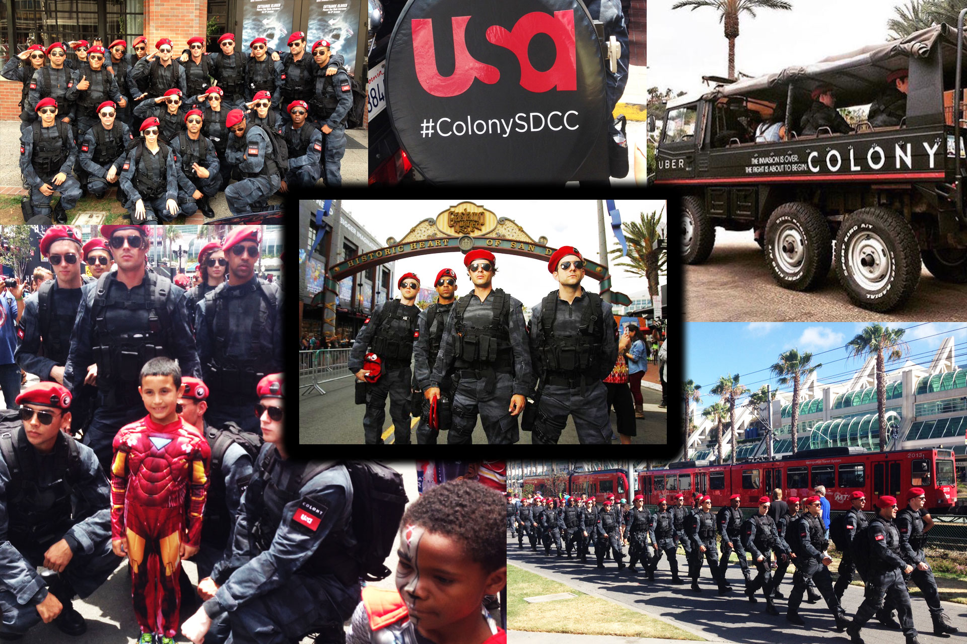 On Tour 24/7 Character Actors representing USA's The Colony at 2015 Comic Con in San Diego, CA.